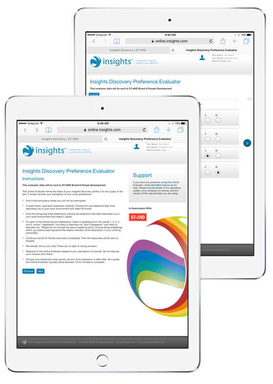 Insights Discovery Preference Evaluator